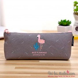 Trousse Flamant rose gris fonçé