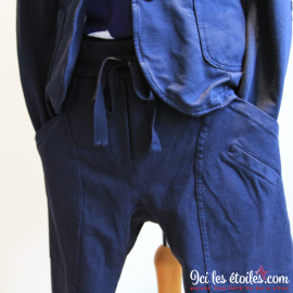 Pantalon en stretch bleu Marine