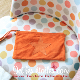 Pochette étoile en daim orange